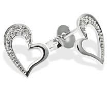 Damen-Ohrstecker Herzen 333 Weißgold  10 Diamanten SI/H 0,06 Karat Herz-Ohrringe
