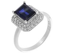 Damen-Halo-Ring Blauer_Zirkonia Ringgröße 56 (17.8) - ZR-7237/SA/56