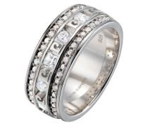 Damen-Ring 925 Sterling Silber rhodiniert Kristall Zirkonia Charme baroque weiß