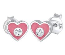 Kinder-Ohrstecker Herz 925 Silber Emaille Swarovski Kristalle Brillantschliff - 0303591317