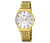 Lotus Herren Quarz-Uhr mit weißem Zifferblatt Analog-Anzeige und Gold Edelstahl vergoldet Armband 15889/1