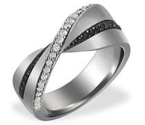 Damen-Ring Rhutenium 585 Weißgold 28 schwarze Brillanten 25 Diamanten SI/H 0,55 ct.