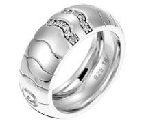 Pierre Cardin Damen-Ring 925 Sterling Silber rhodiniert Glas Zirkonia Réalisme weiß Gr.57 (18.1) S.PCRG90386A180