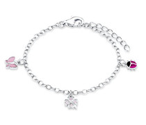 Kinder-Armband längenverstellbar Marienkäfer Schmetterling Kleeblatt 925 Silber rhodiniert Emaille Zirkonia rosa