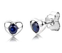 Damen-Ohrstecker 925 Sterling- Silber Rundschliff Blau