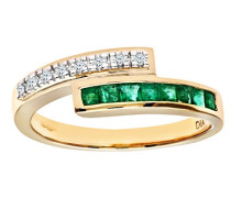 Damen-Ring 9 K Gelbgold P1 Diamant 0,03 ct Smaragd