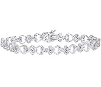 Damen-Armband 375 Weißgold Diamant 0,10 ct Weiß/Crystal (J) Rundschliff 18.5 cm PBC02414W