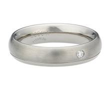 Unisex-Ring Titan Diamant (0.025 ct) weiß Brillantschliff