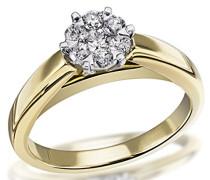Damen-Ring Glamour Bicolor 585 Gold 7 Diamanten 0,33 ct.