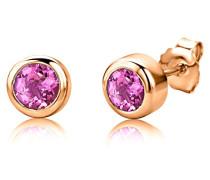 Damen-Ohrstecker 925 Sterling- Silber Rundschliff Pink/Rosa Synthetischer Saphir