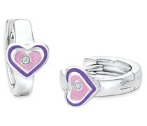 Prinzessin Lillifee Kinder-Creolen Mädchen Herzen 925 Silber rhodiniert Emaille rosa lila Zirkonia weiß