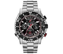 Precisionist Chronograph Herren Armbanduhr UHF mit schwarzem Zifferblatt und Silber Edelstahl Armband