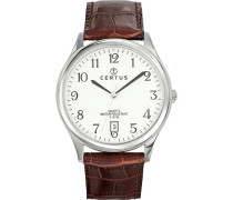Herren-Armbanduhr Analog Quarz Leder 610480
