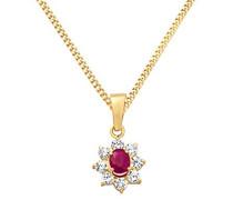 Damen Halskette 9 Karat (375) Gelbgold rhodiniert Rubin
