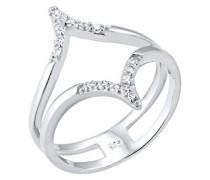 Premium Damen-Ring 925 Silber Zirkonia weiß Rundschliff