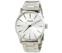 Nixon Damen-Armbanduhr Sentry 38 SS All Silver Analog Quarz Edelstahl A4501920-00