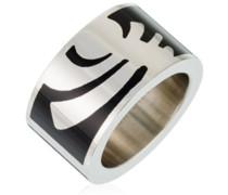 Pierre Cardin Unisex-Ring 925 Sterling Silber Edelstahl rhodiniert Kunststoff Totem, SILBER/SCHWARZ,  Gr.57 (18.1) PCRG10008A180