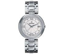 2097.7132 Unisex Schweizer Quarz-Uhr mit weißem Zifferblatt Analog-Anzeige und Silber-Edelstahl-Armband