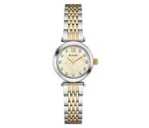 Diamond 98S154 - Damen Designer-Armbanduhr - Perlmutt-Zifferblatt - Zweifarbig mit Goldfarbe