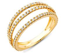18 Karat (750) Gelbgold 58 (18.5) Damenring, mit  93 (0,49 cts) Diamanten M0343AYR