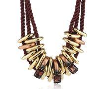 Dyrberg/Kern Damen Halskette Vergoldetes Metall Stoff Glaskristall 336080