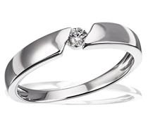 Damen-Ring Trauring 925 Silber rhodiniert Diamant (0.08 ct) Brillantschliff weiß