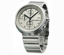 Trapazoid Unisex Armbanduhr Chronograph Anzeige und Silber-Edelstahl-Armband SILAZ002