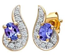 Damen-Ohrstecker 375 Diamant 0,08 ct Blau-Violett Rundschliff