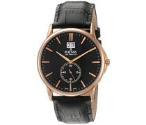 Unisex-Armbanduhr  LES BÈMONTS BIG DATE Analog Quarz Leder 64012 37R NIR