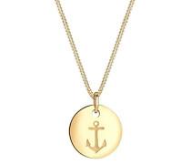 Damen Schmuck Halskette Kette mit Anhänger Anker Maritim Hanseatisch Münze Silber 925 Vergoldet Länge 45 cm
