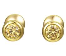 ! Damen-Ohrstecker Edelstahl Zirkonia gold Rundschliff - JPER90313B000