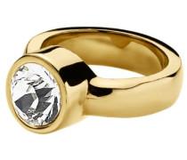 Damen-Ring Edelstahl 24ct. Vergoldet 1 Swarovski-Kristall Cyrielle 57 (18.1) 330324