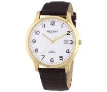 Herren-Armbanduhr XL Analog Quarz Leder 11100235