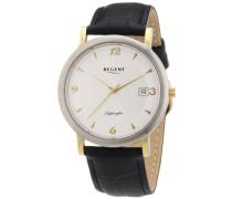 Regent Herren-Armbanduhr XL Analog Quarz Leder 11120106