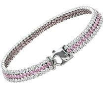 Damen Schmuck-Set Halskette Ohrringe Sterling Silber rhodiniert Rittersporn 3 Reihen Tennis Armband, Rosa und mit klaren Swarovski Kristallen, 19 cm