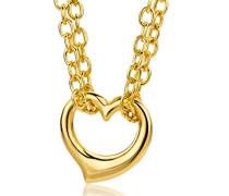 Damen-Halsband 9 Karat 375 Gelbgold Anhänger Herz 43cm Doppel