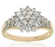 Damen-Ring 375 Gelbgold 31 Diamant 9 Karat