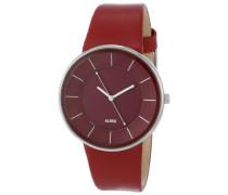 Herren-Armbanduhr Analog Quarz Leder rot AL8001