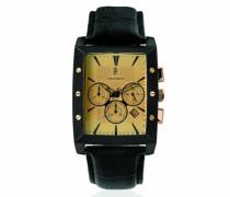 295C423–City schlichtes–Armbanduhr–Quarz Chronograph–Zifferblatt Silber–Armband Leder Schwarz
