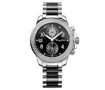 Damen-Armbanduhr Glam Chrono silber schwarz Analog Quarz