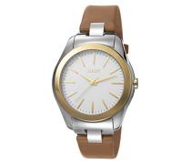 ! Damen-Armbanduhr Golden Leather Analog Quarz Leder JP101892001