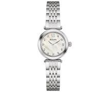 Bulova Damen Diamant Quarz Damen Uhr mit Perlmutt Zifferblatt Analog-Anzeige und Silber Edelstahl Armband 96s167