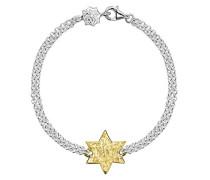 Cherish vergoldet Gravierbarer flach Star Doppel Silber Kette, Armband der 18,5cm