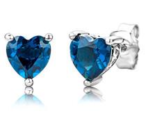 Damen-Ohrstecker 925 Sterling- Silber Herzschliff Blau Topas