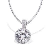 Damen-Halskette 925 Sterlingsilber 37 weiße Zirkonia Kettenanhänger Schmuck