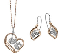 Damen-Set: Halskette + Ohrringe 925 Sterling Silber Zirkonia wei SET-5186