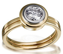 Damen-Ring Solitär Verlobung Weißgoldzarge 585 Gelbgold 1 Brillant Lupenrein weiß 1.00 ct. Inkl. externer Expertise So R6556GGL