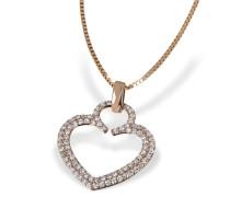 Damen-Herz-Halskette Herz 585 Rotgold 84 Diamanten 0,32 ct. H Herzanhänger Diamantkette