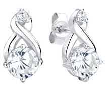 Damen-Ohrstecker Kristall Ohrstecker Infinity Unendlichkeit 925 Silber Zirkonia Brillantschliff weiß 0312951514