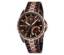Herren Quarz-Uhr mit Braun Zifferblatt Analog-Anzeige und zweifarbigem Armband Edelstahl vergoldet 18206/1
